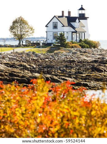 lighthouse, Prospect Harbour Point Light, Maine, USA - stock photo