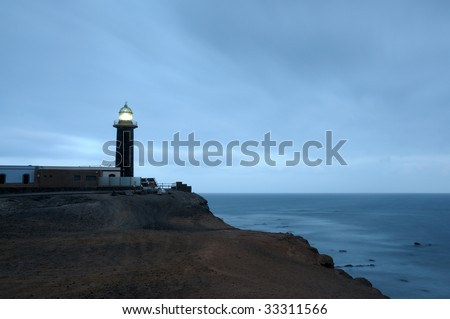 Lighthouse Punta de Jandia at night. Canary Island Fuerteventura, Spain