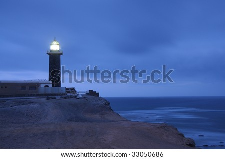 Lighthouse Punta Jandia at night. Canary Island Fuerteventura, Spain