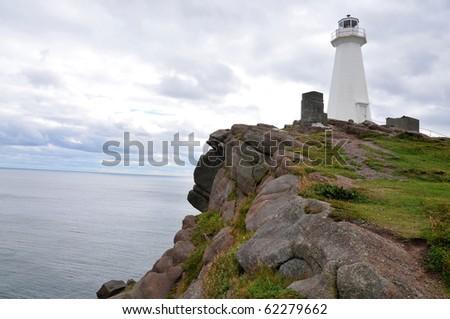 Lighthouse scene in coastal Newfoundland, St John's, Canada in autumn - stock photo