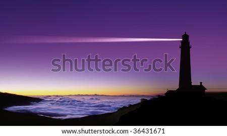 Lighthouse searchlight beam through foggy air - stock photo