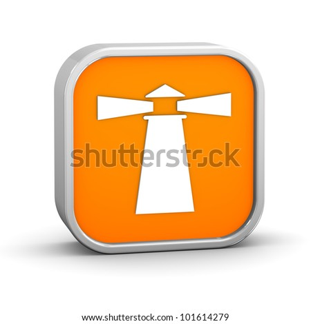 Lighthouse sign on a white background. Part of a series. - stock photo
