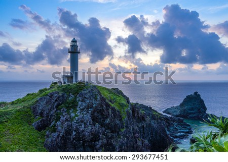 Lighthouse Sunset at Ishigaki island of Okinawa Japan - stock photo