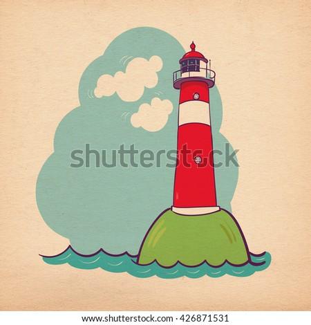Lighthouse template in retro style, vintage lighthouse badge, retro lighthouse icon. Lighthouse on the sea fairy shore. The lighthouse on the island. Children's illustration on kraft paper  - stock photo