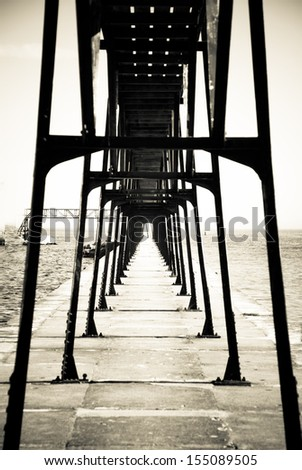 Lighthouse Way bridge, diminishing perspective - stock photo