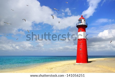 Lighthouse. Westkapelle, Netherlands - stock photo