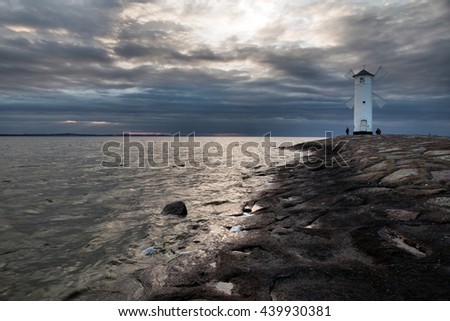 Lighthouse windmill Stawa Mlyny, Swinoujscie, Baltic Sea, Poland