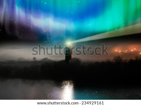 "lighthouse with aurora .""Elements of this image furnished by NASA  - stock photo"