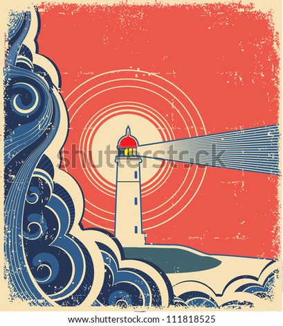 Lighthouse with blue sea.Grunge background for design of symbol card.Raster - stock photo