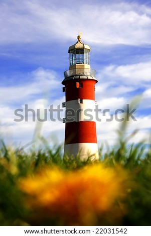 lighthouse with dandelion, Plymouth, UK - stock photo