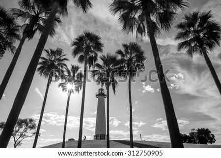 Lighthouse with palms at Long Beach, California, USA - stock photo