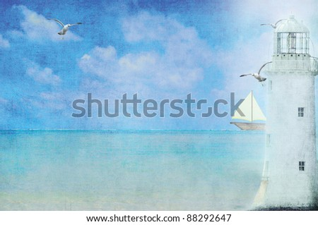lighthouse with sailboat and seagulls - stock photo