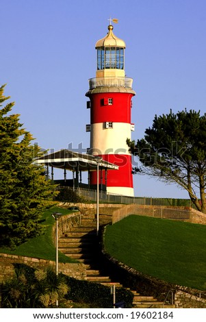 lighthouse with the colonnade, Plymouth, UK - stock photo