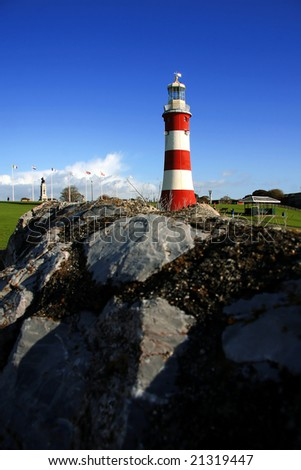 lighthouse with the rock, Plymouth, UK - stock photo