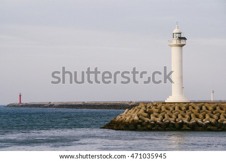 Lighthouses along the coast of Jeju City, the capital of Jeju Island.