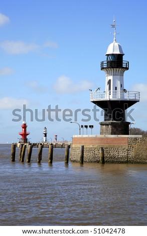 Lighthouses  - light buoys - at entering the Kiel channel - stock photo