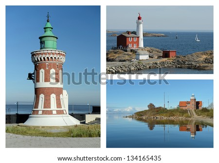 Lighthouses of the world - stock photo