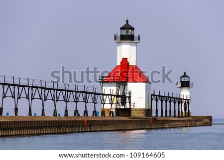 Lighthouses on the breakwater at St. Joseph, Michigan, Lake Michigan - stock photo