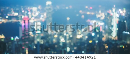 Lighting bokeh top view Hongkong. - stock photo
