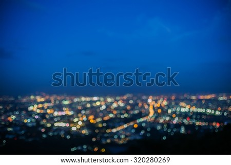 Lighting bokeh top view of Chiang Mai, Thailand  - stock photo