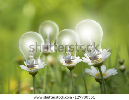 lighting bulbs like a flowers on a green meadow