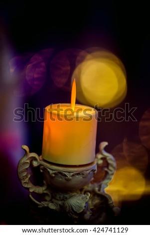 Lighting candle in  wedding  night  - stock photo