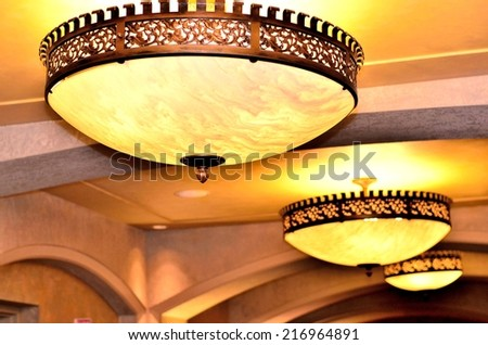 Lighting decor on the ceiling - stock photo