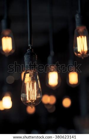 Lighting decor. Retro light bulb - stock photo