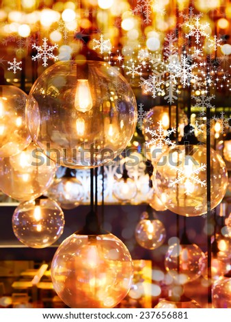 Lighting decoration and snowflake design for christmas background