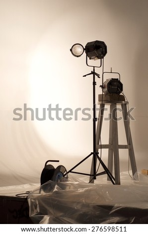 Lighting devices for taking pictures in the studio - stock photo