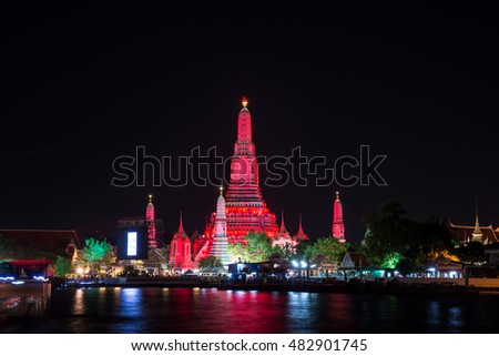 Lighting effects at Wat Arun Temple in the night, Bangkok, Thailand