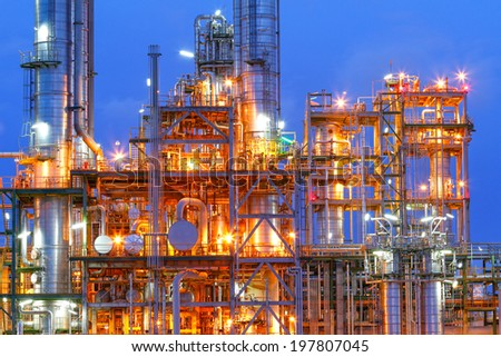 Lighting from structure of oil and chemical factory  - stock photo