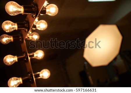 Vanity mirror lights stock images royalty free images vectors womans makeup place with mirror and bulbs lighting in dressing room aloadofball Image collections