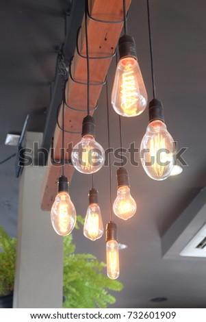 Lighting lamp in the celling of the coffee shop in Thailand