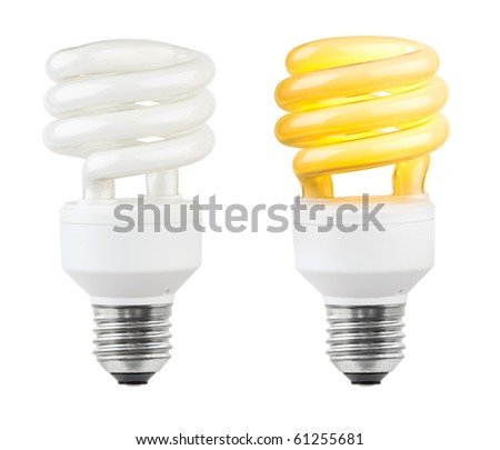 Lighting low-energy lamp isolated on white background - stock photo