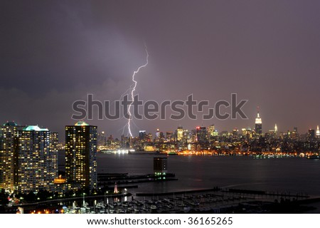 lighting night of Manhattan - stock photo