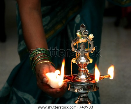Lighting of candles at indian ceremony
