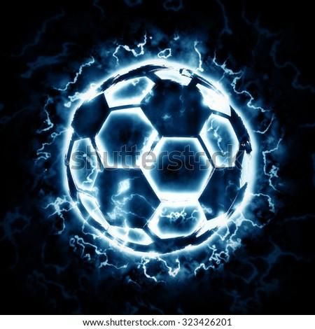 Lighting soccer ball - stock photo
