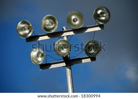 Lighting system for amateur sports field off - stock photo