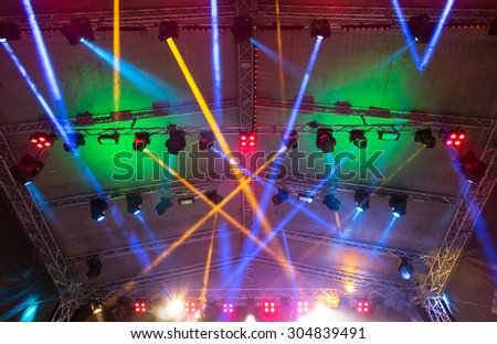Lighting the concert stage - stock photo