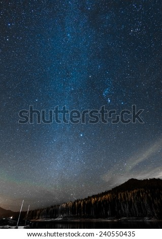 Lightly Milky Way at Yosemite National Park - stock photo