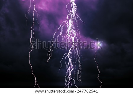 Lightning - A dark cloudy sky with lightning - computer generated image - stock photo