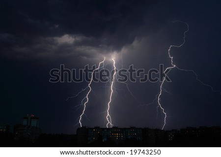Lightning a thunder-storm - stock photo