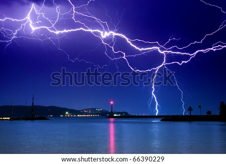 Lightning above the lake