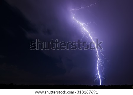 lightning and clouds in night landscape storm - stock photo
