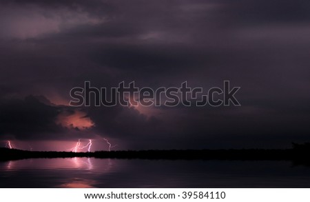 Lightning and storm. Night scene. Africa - stock photo
