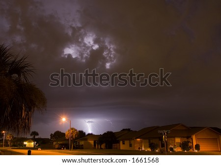 Lightning and thunder in Central Florida - stock photo