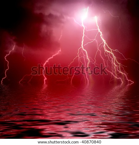 Lightning background with water reflection - stock photo