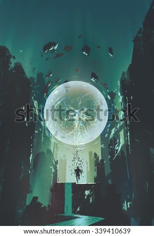 lightning ball and geometry in the form of human with building background,illustration painting