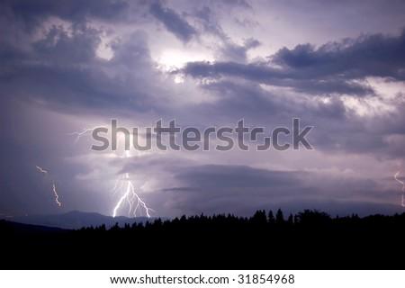 lightning between clouds - stock photo